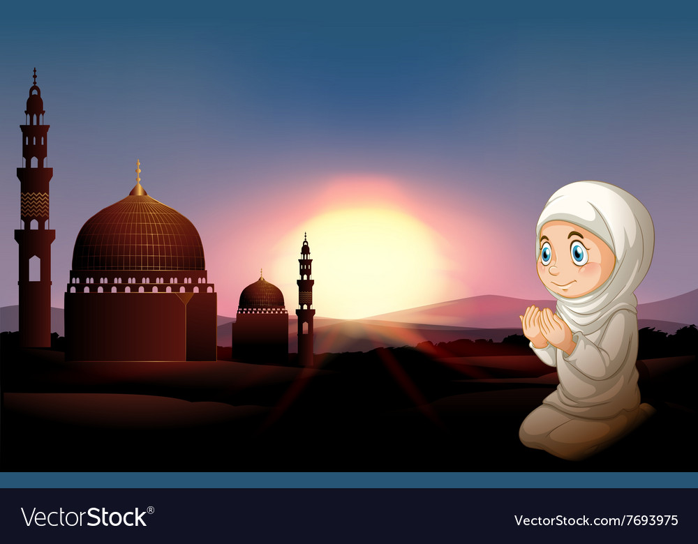 Muslim girl praying at the mosque vector