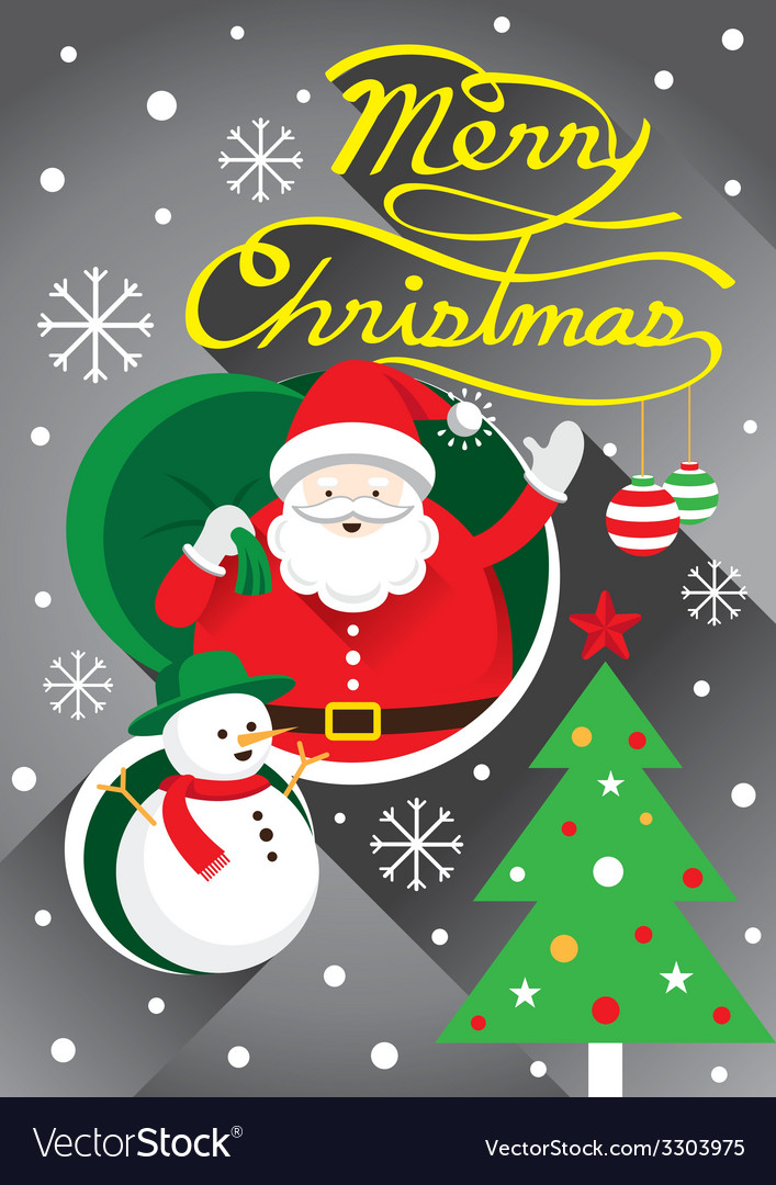 Santa christmas text and tree vector