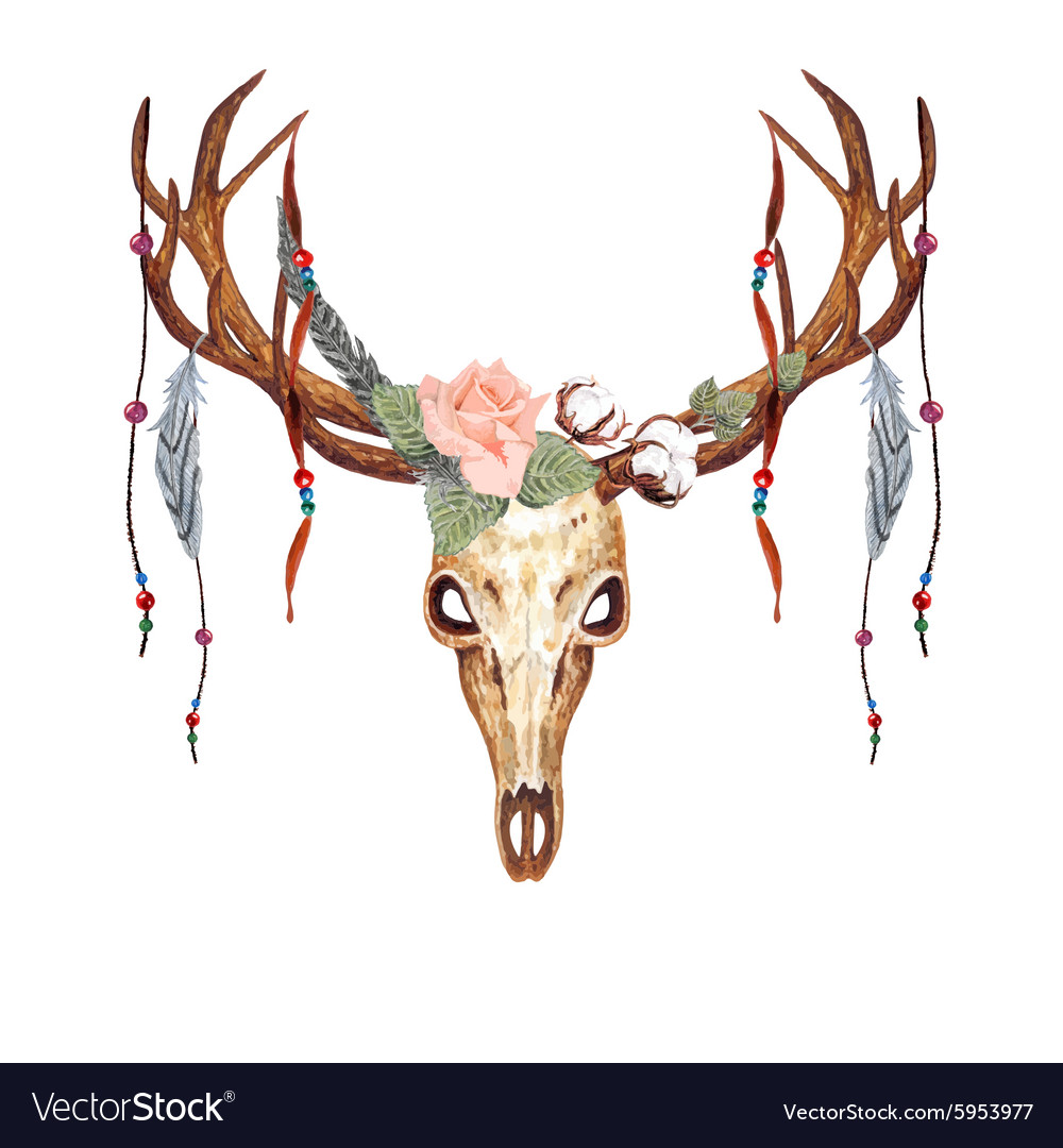 Deer skull rose bead vector