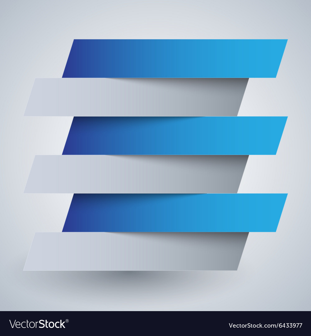 Infographics white and blue paper rectangle vector