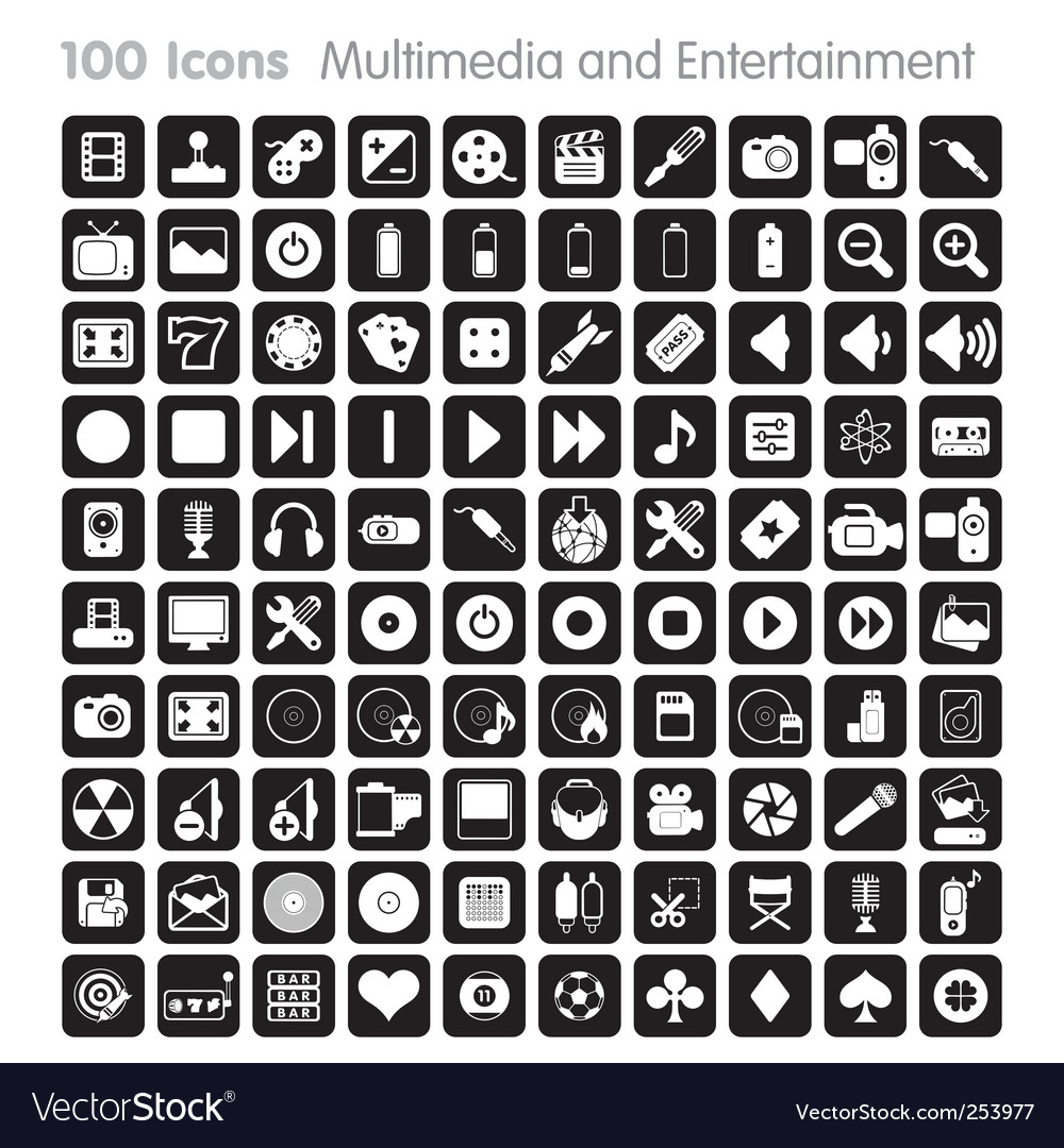 Mulitimedia icon set 100 vector