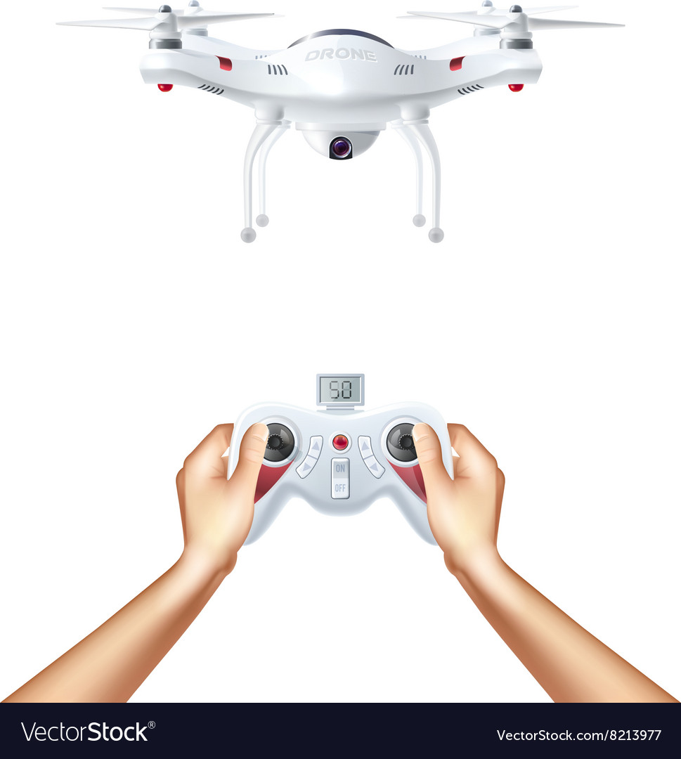 Unmanned drone with remote controller vector
