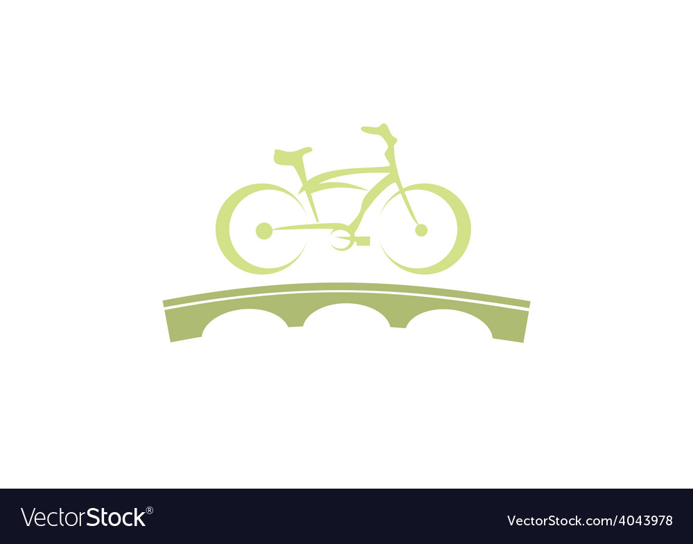 Bike abstract bridge tour logo vector