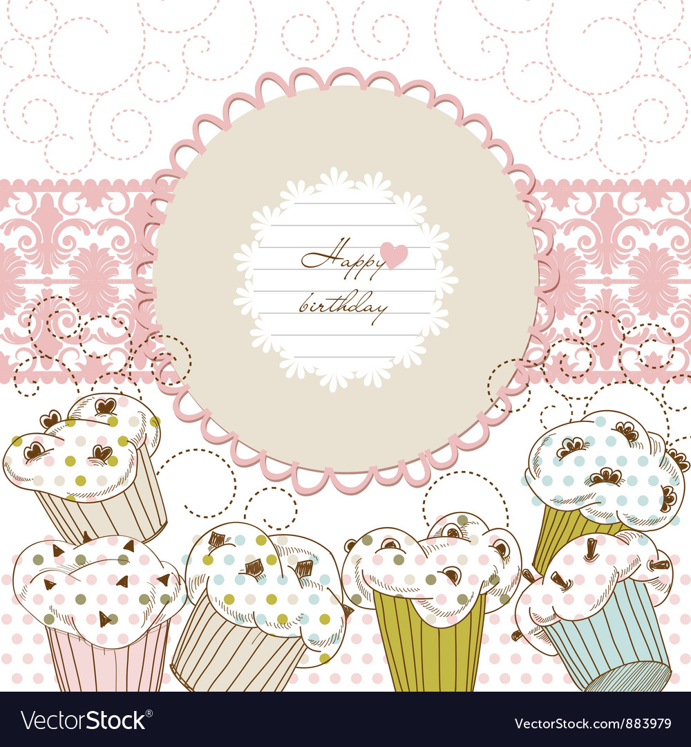 Cupcakes background lace frame vector