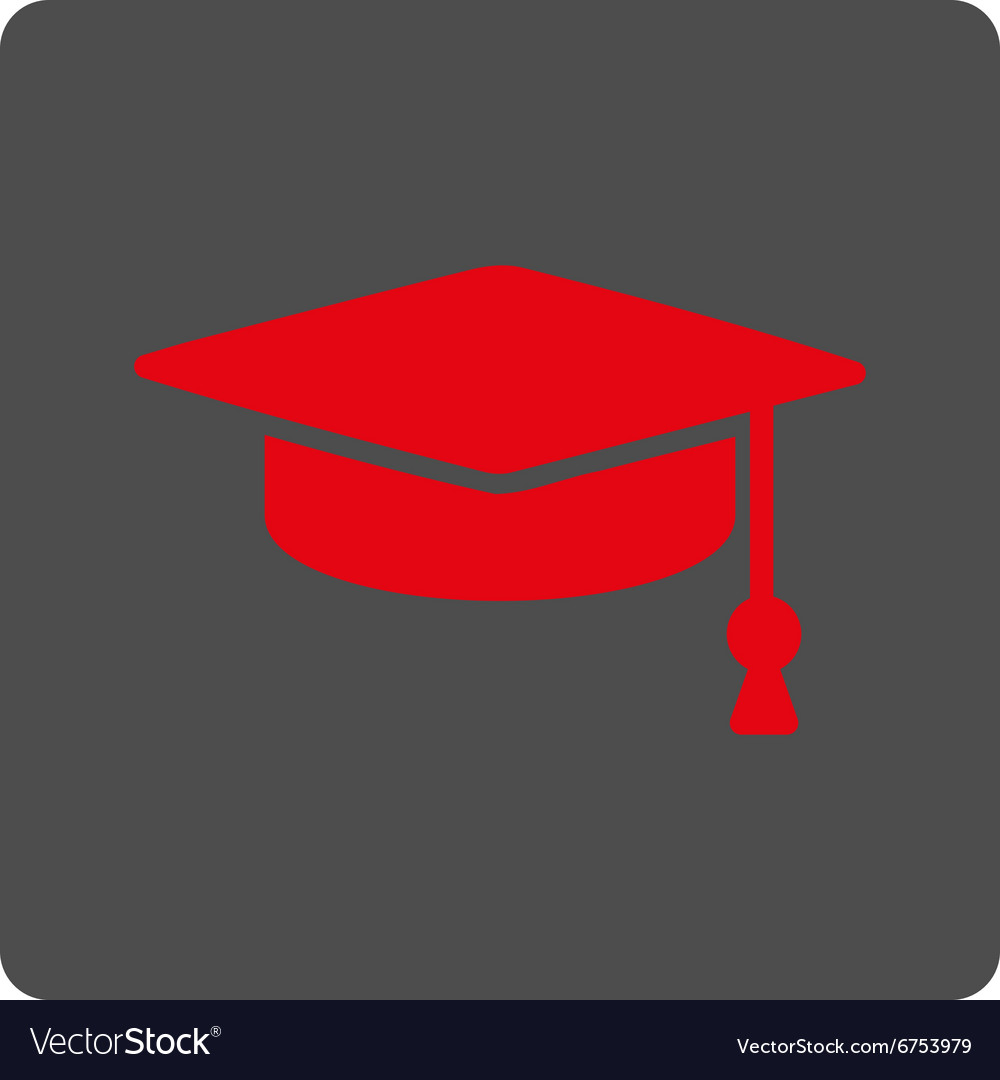 Graduation cap rounded square button vector
