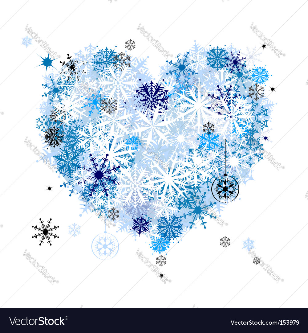 Heart shape snowflakes vector