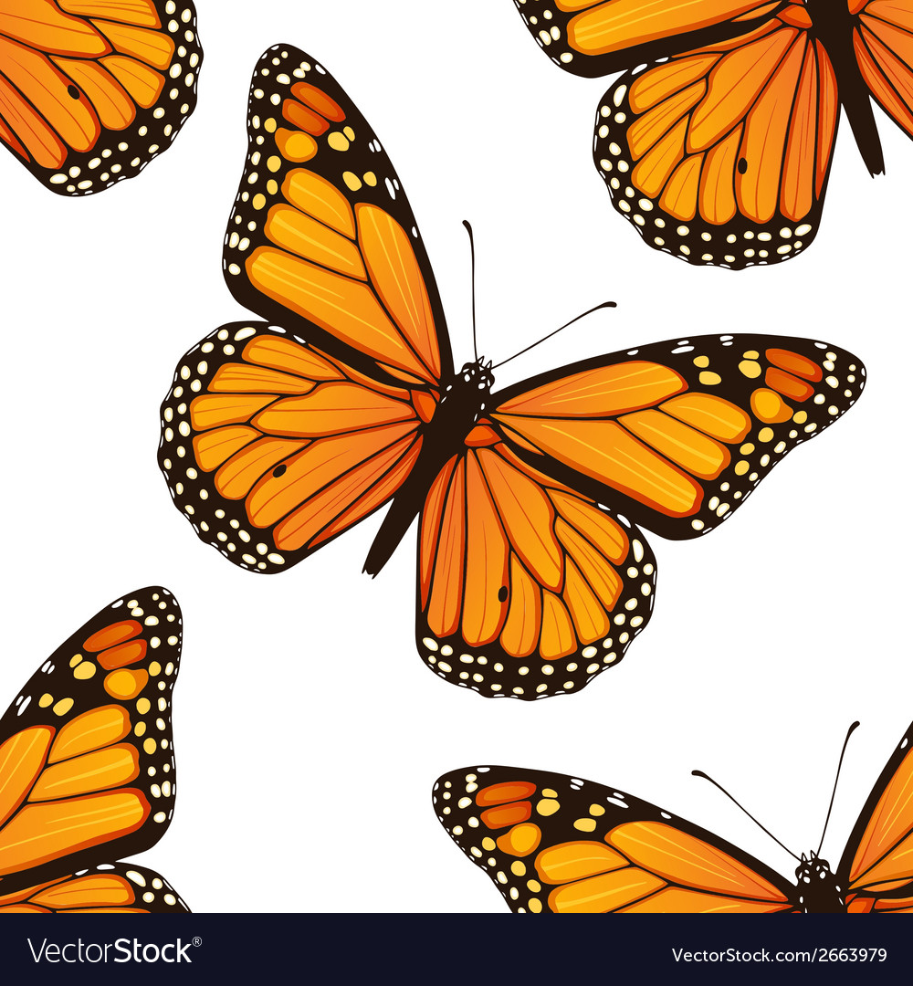 Seamless pattern with monarch butterflies vector