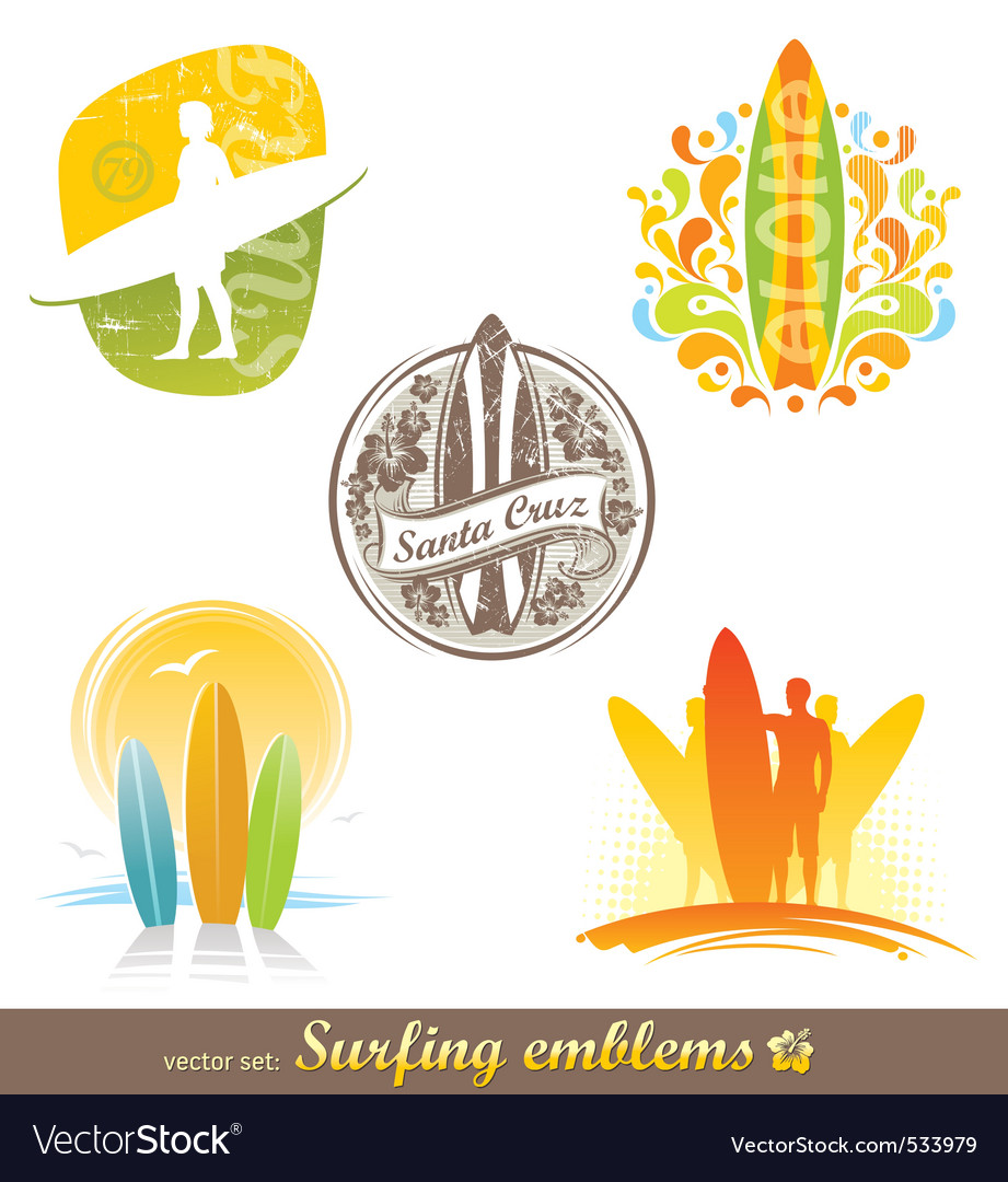 Surfing emblems labels vector