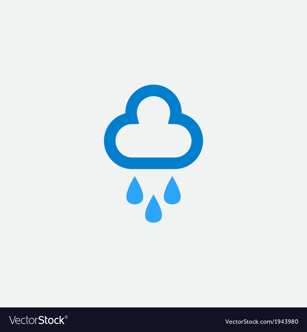 Cloud with rain drops icon vector