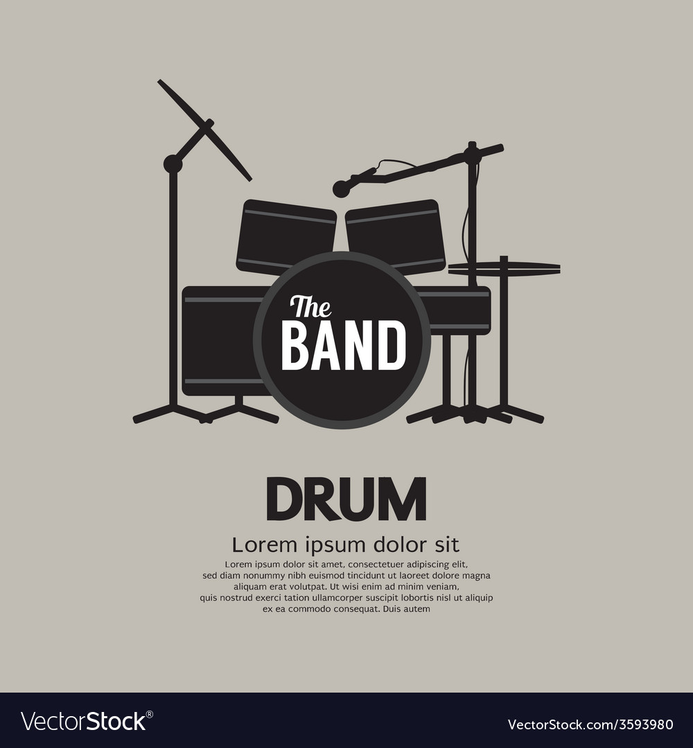 Drum set music instrument vector