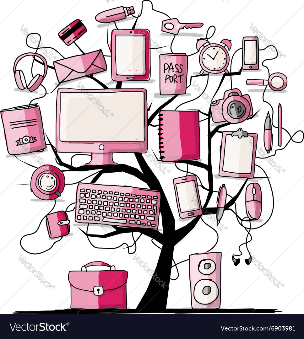 Art tree with digital office devices sketch for vector