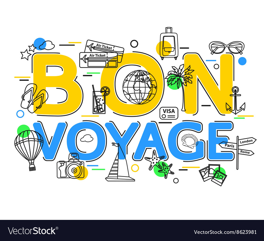 Bon voyage concept with icons and elements vector