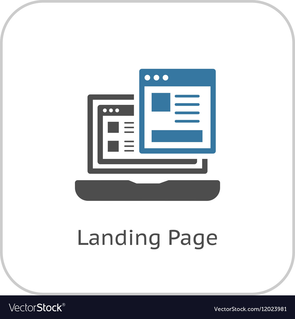 Landing page icon flat design vector