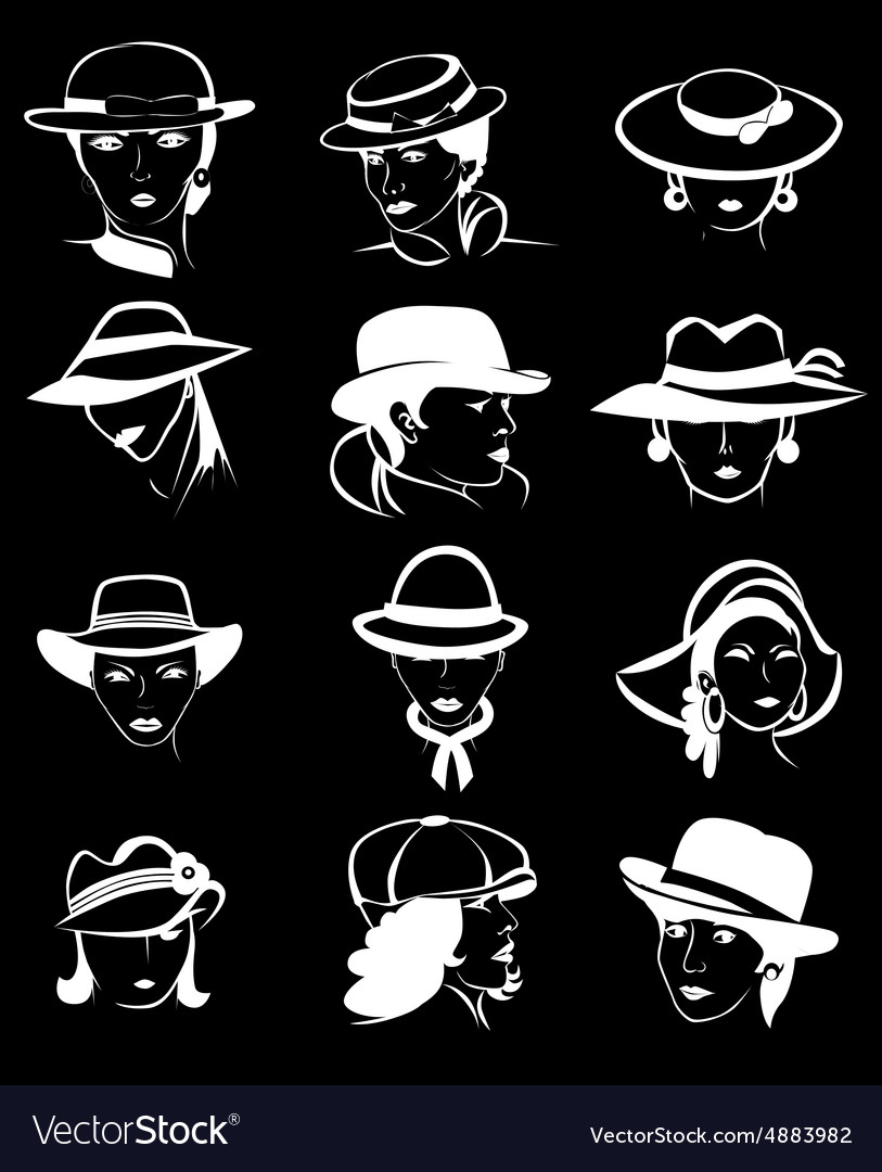 Female hats set vector