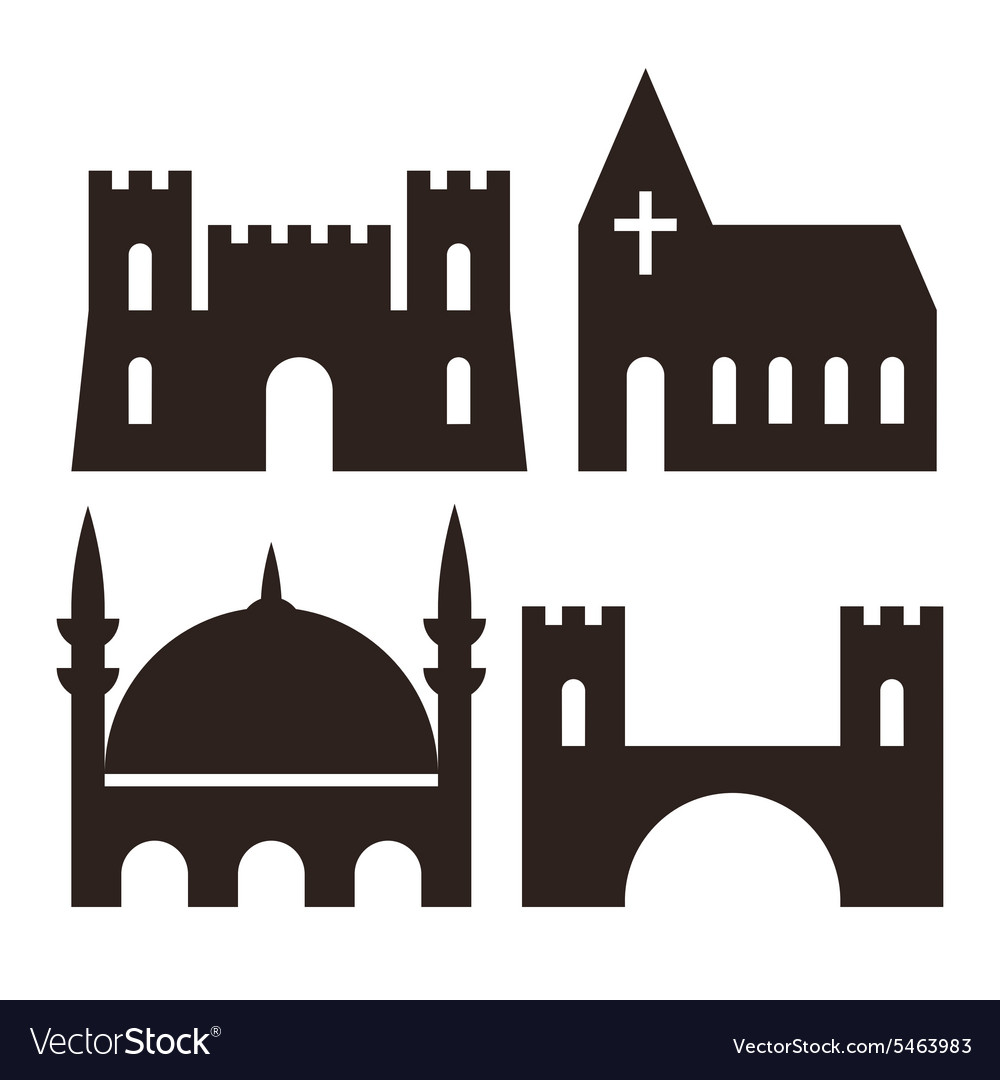 Castle church mosque and bridge icons vector