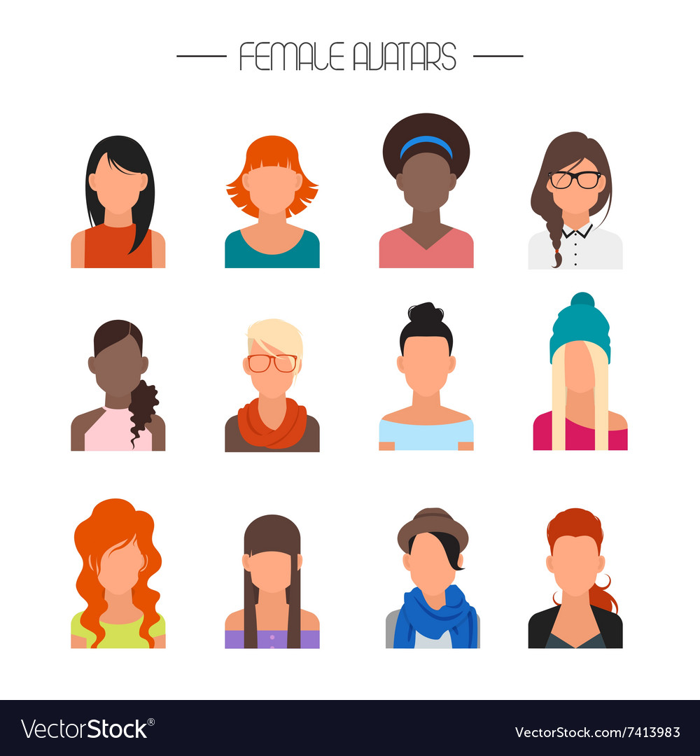 Female avatar icons set people characters vector