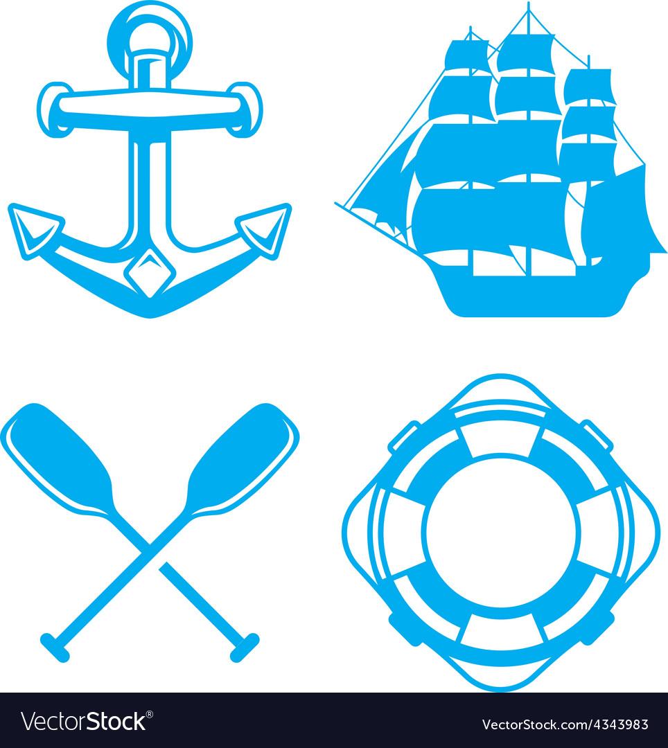 Nautical ocean symbols vector