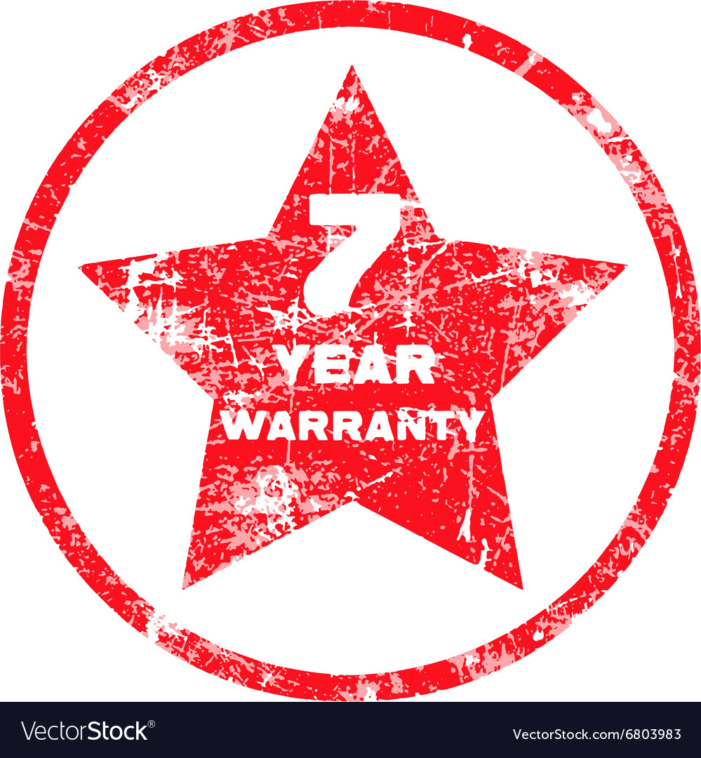 Seven year warranty red grungy stamp vector