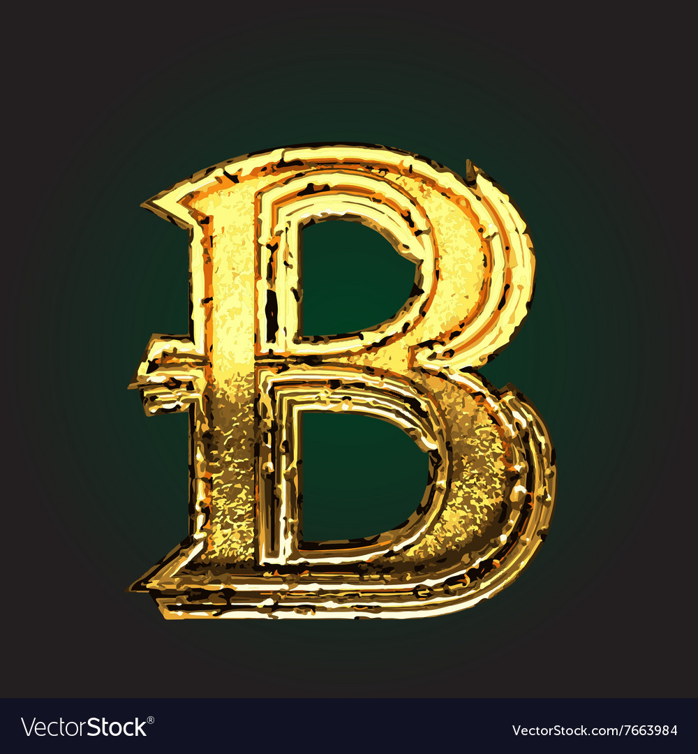 B golden letter vector