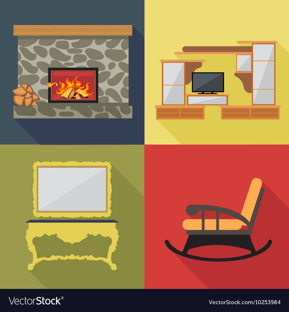 Fireplace home decoration icon set flat style digi vector