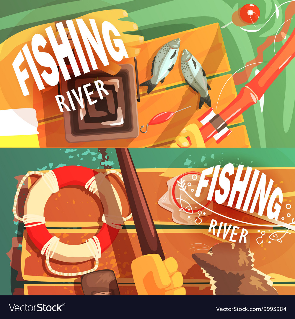 Two fishing with only hands visible vector