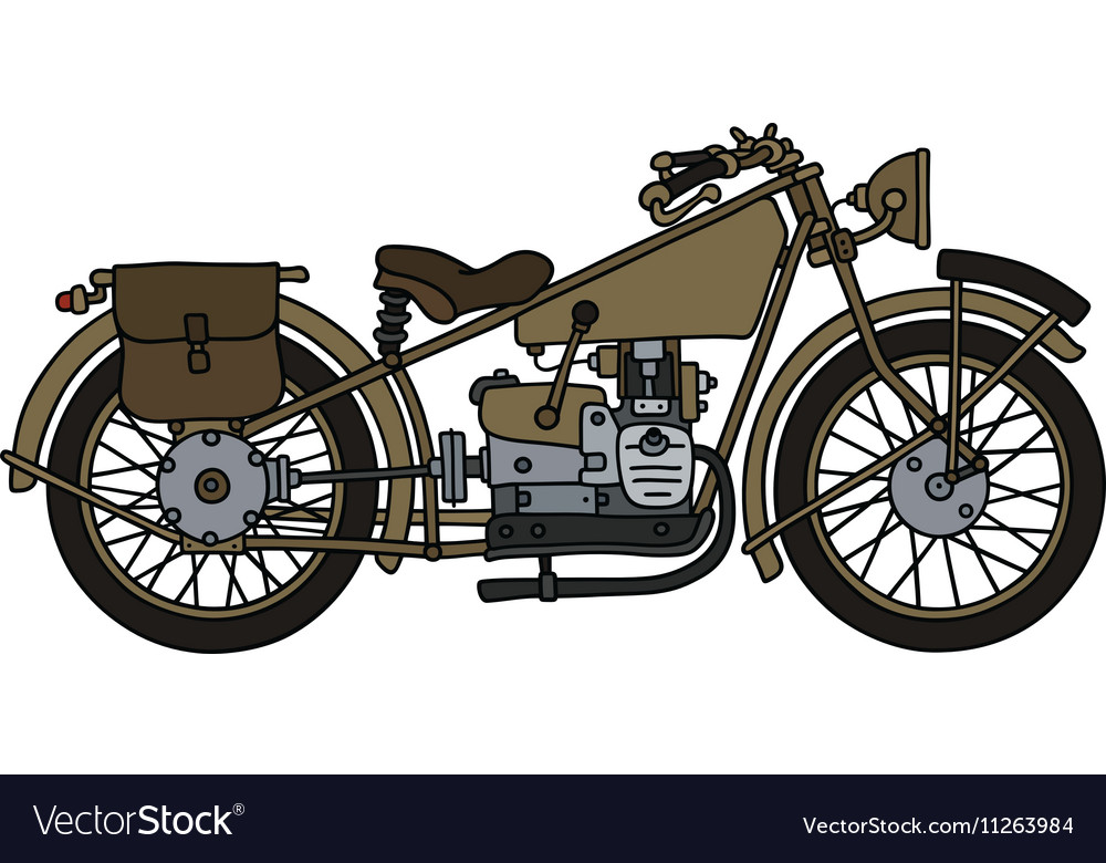 Vintage military motorcycle vector