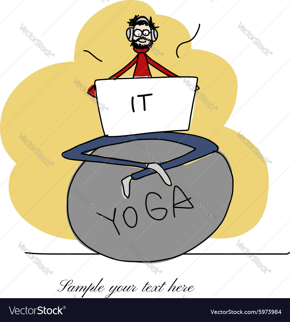Yoga at work man with laptop for your design vector