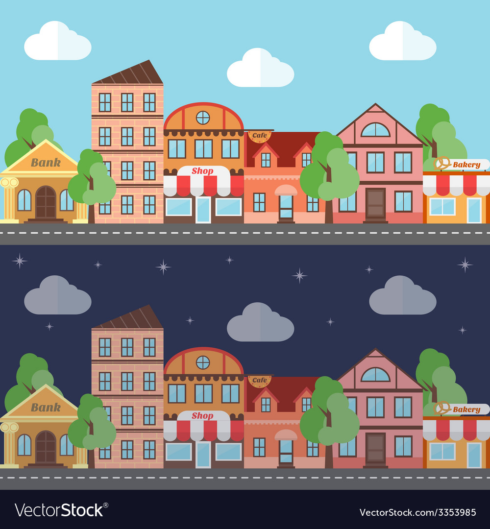 A town in night and day flat design vector