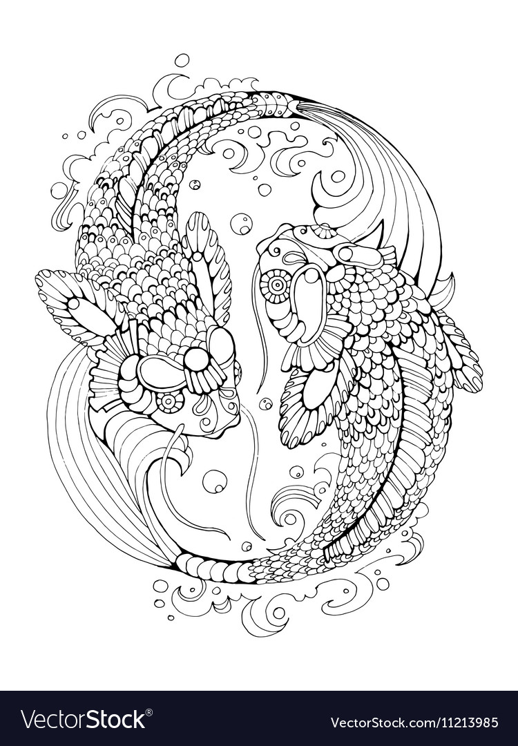 Koi carp coloring book for adults vector