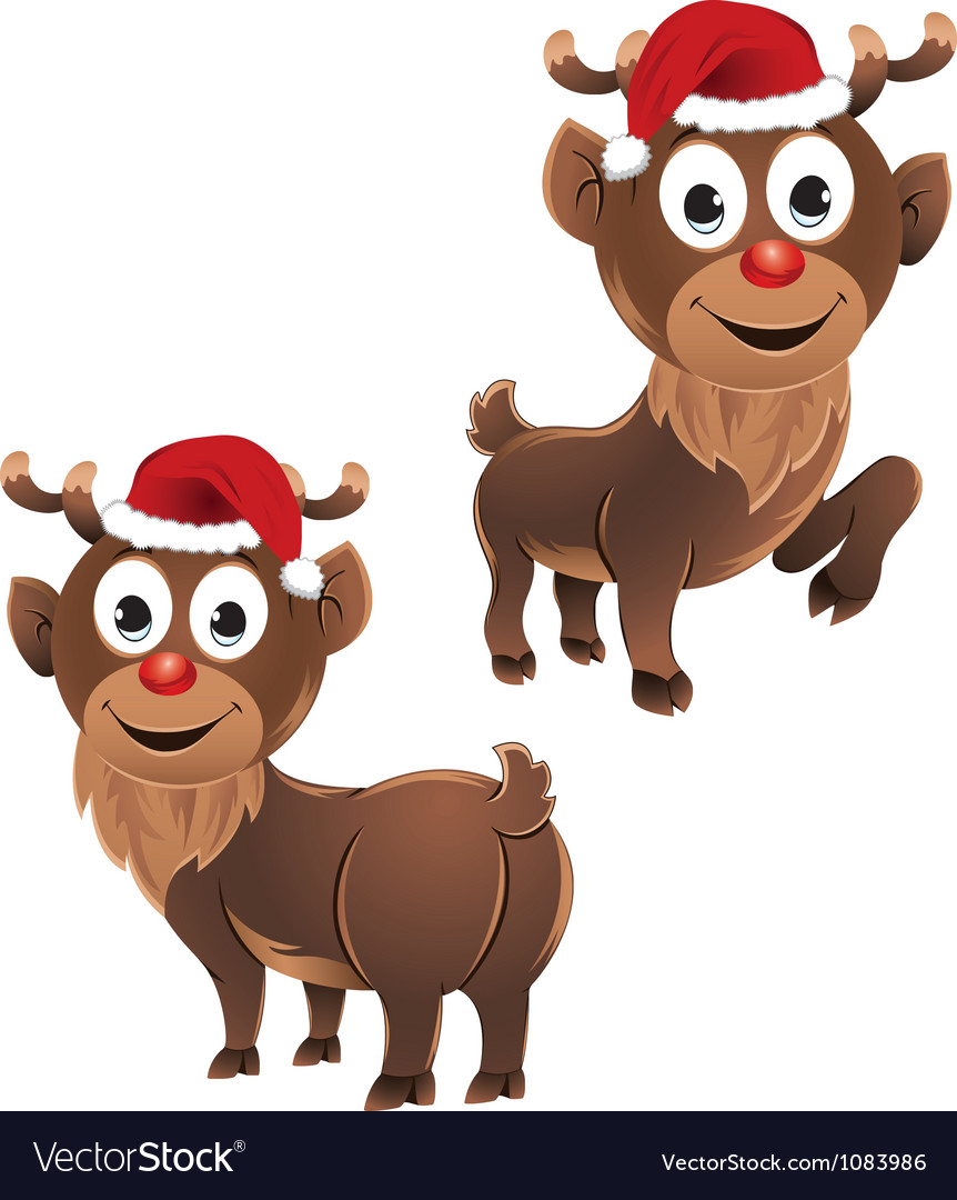 Baby rudolph the reindeer two poses vector
