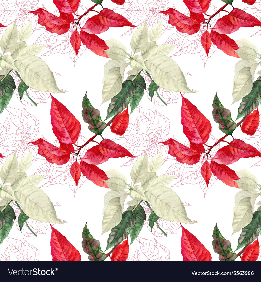 Seamless pattern with red poinsettia plant vector