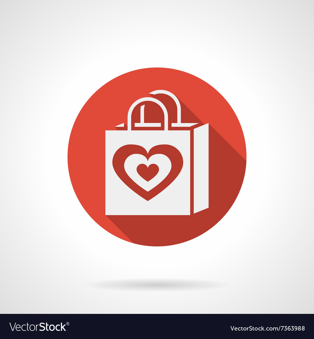 Love shopping bag round red icon vector