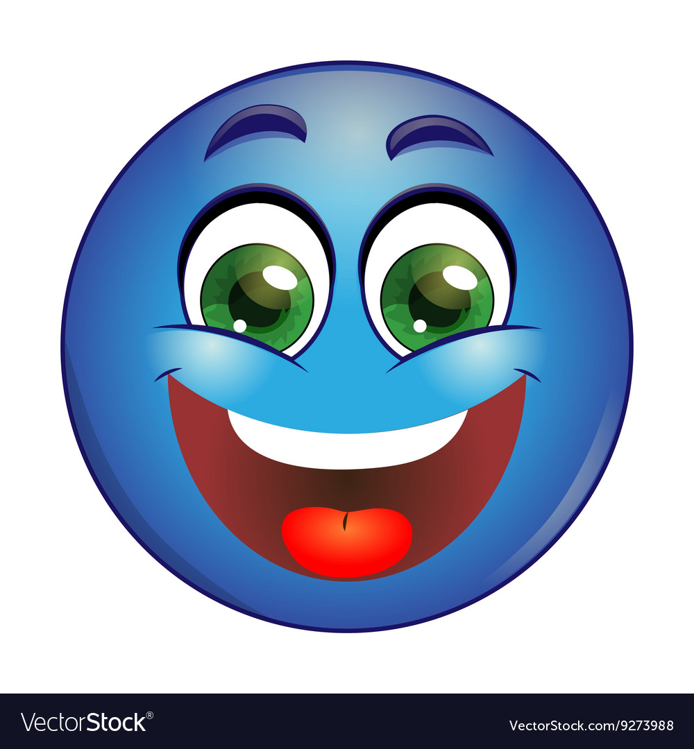Smiling blue emoticon vector
