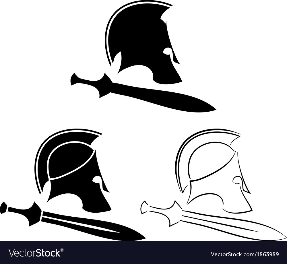 Set of ancient helmets with swords vector