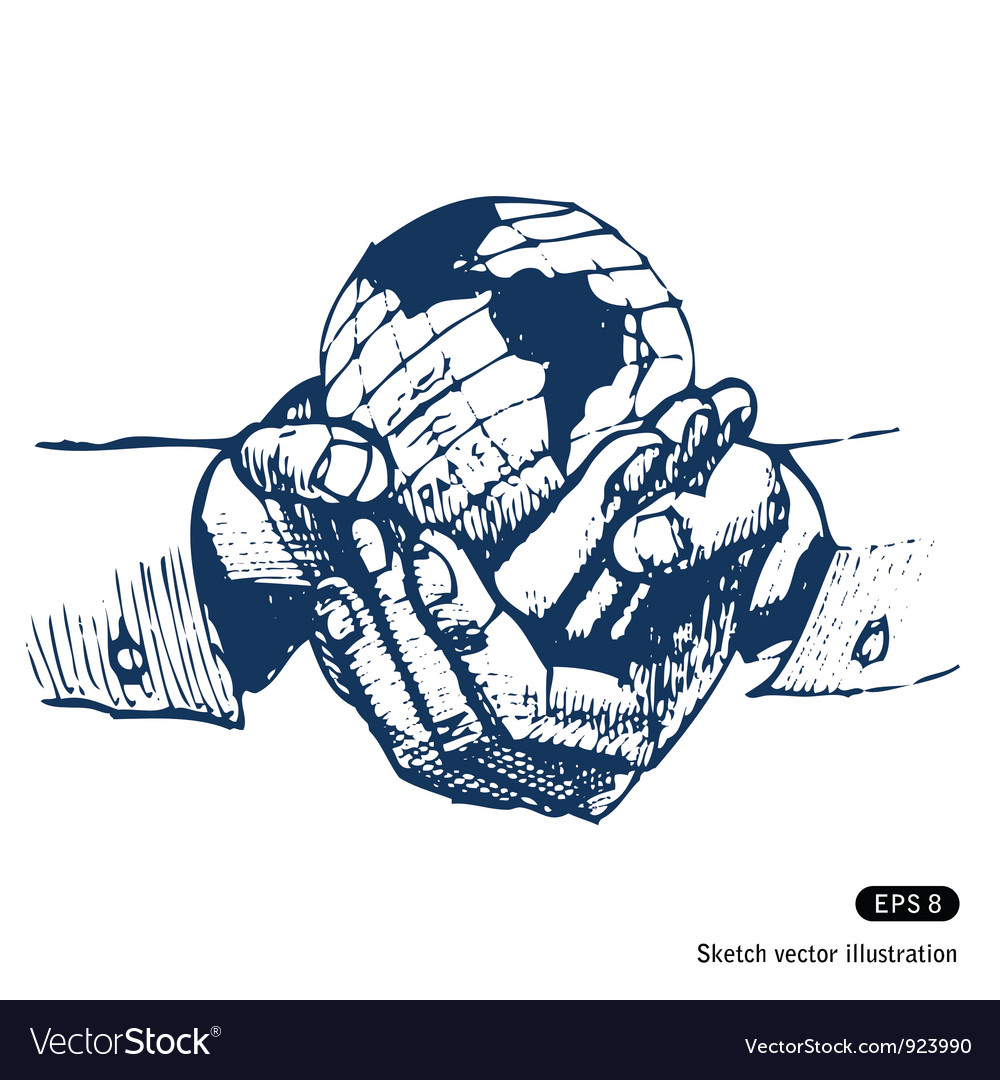Mans hands holding the earth globe vector