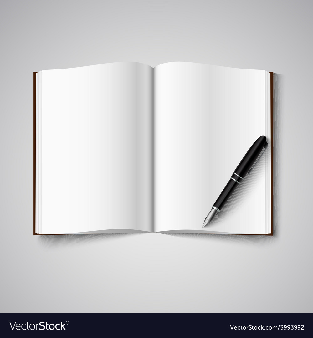 Blank diary were pages and pen vector