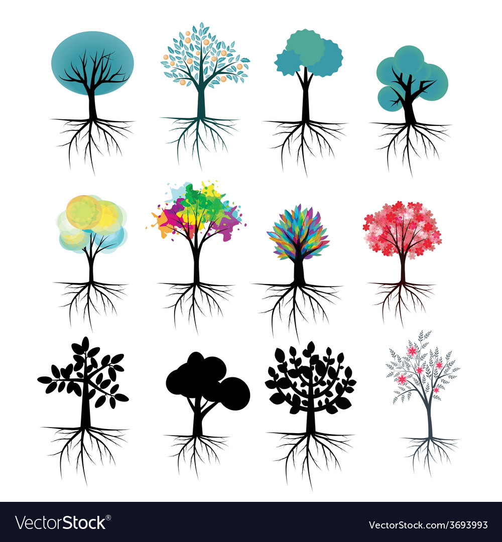 Trees set vector