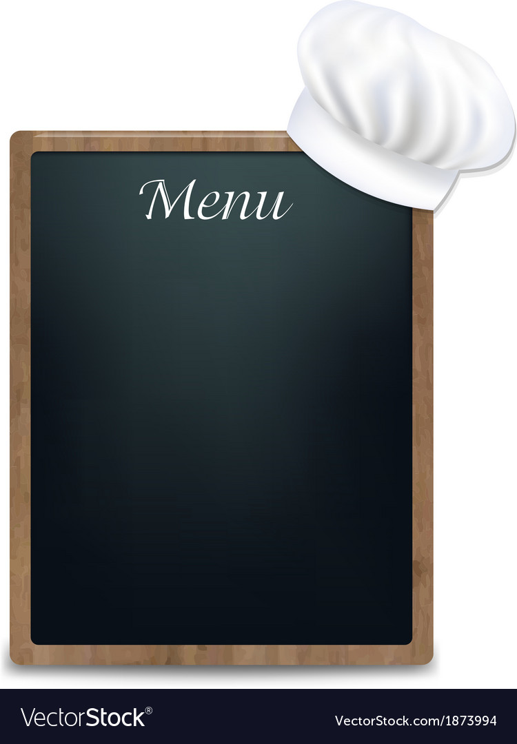 Black chalk board with cook cap vector