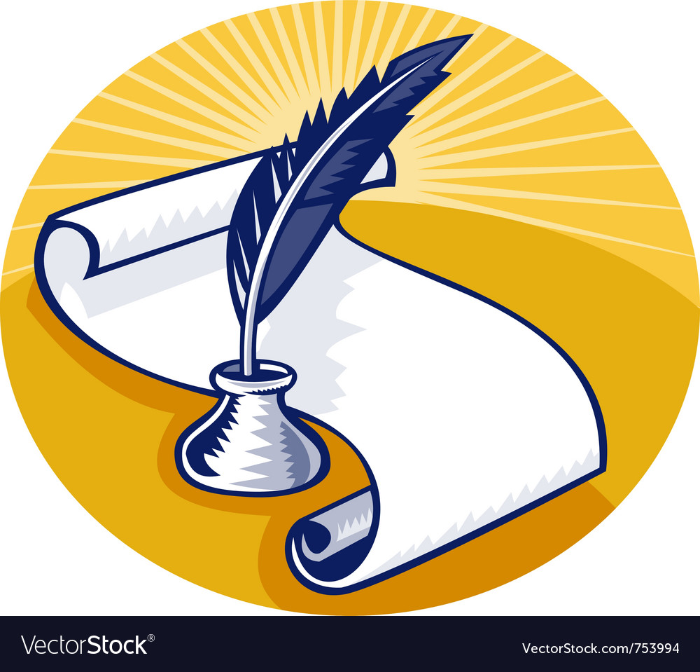 Quill pen and ink well with paper scroll set vector