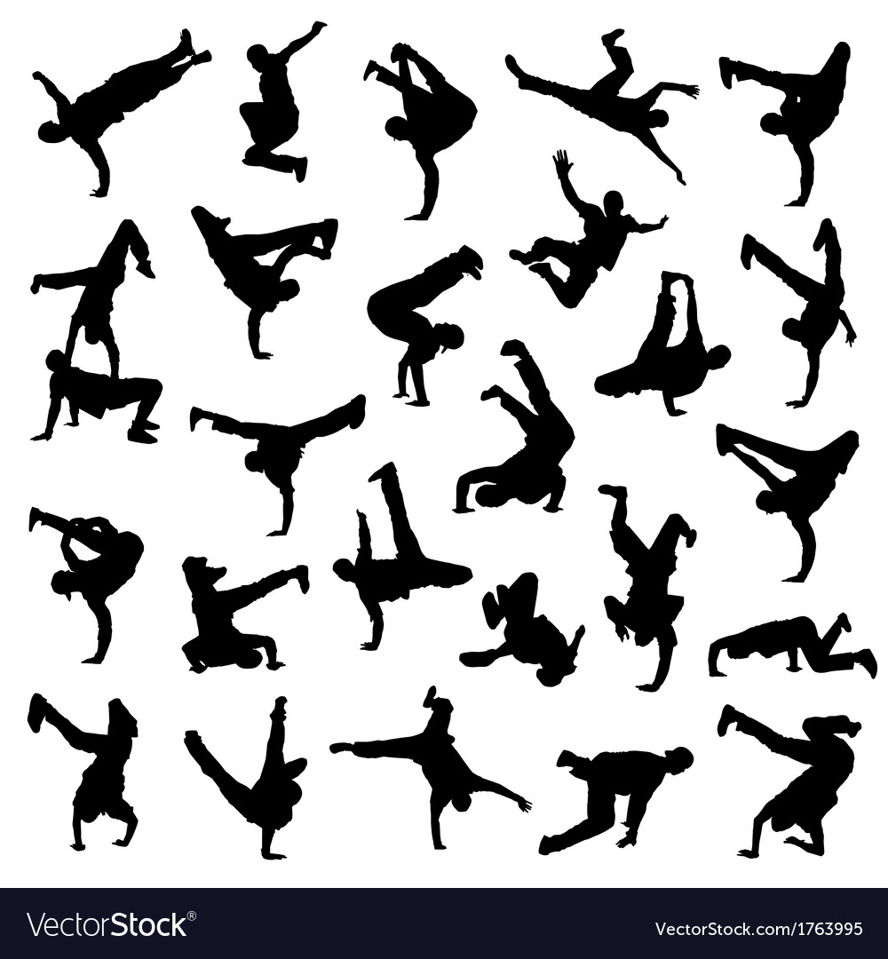 Break dance silhouettes vector