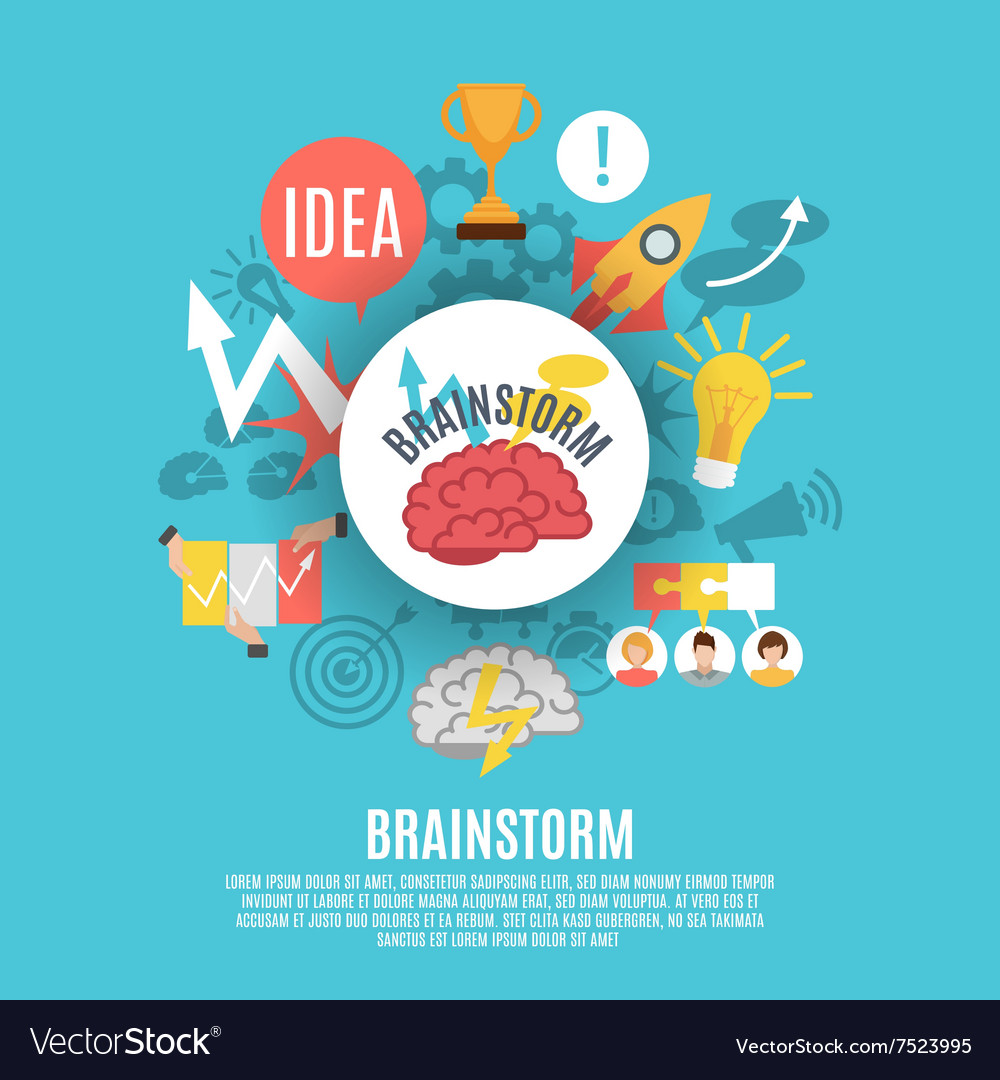 Flat poster with brainstorm icons vector