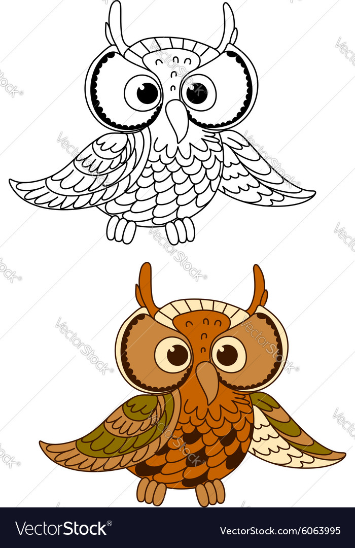 Horned owl bird with mottled brown plumage vector