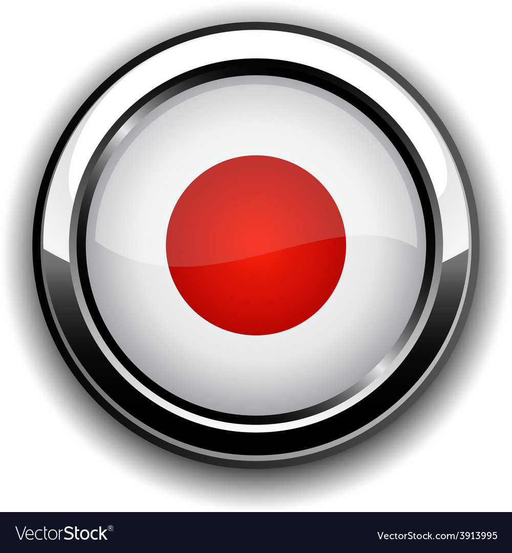 Japanese flag button vector