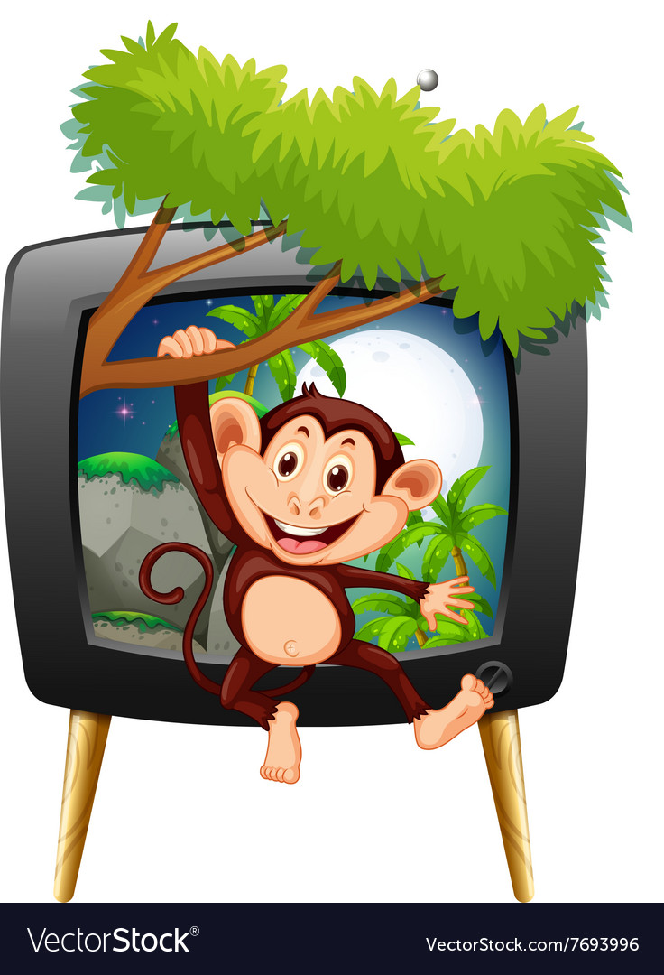 Monkey hanging on branch on tv screen vector