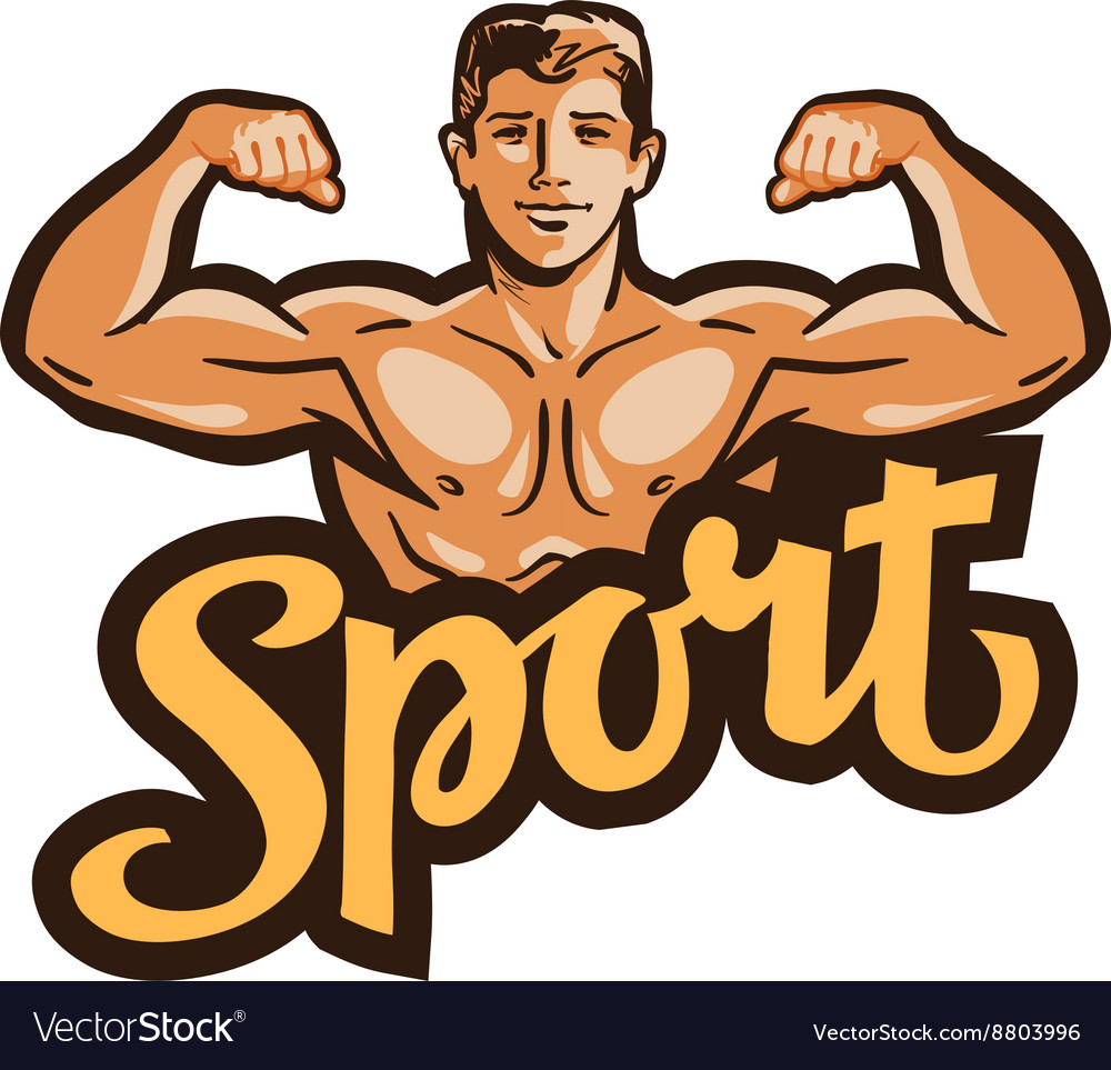 Strong muscular man flexes hands vector