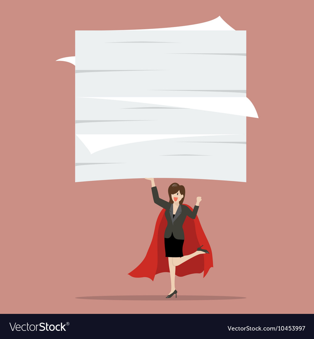 Business woman superhero lifting a lot of vector