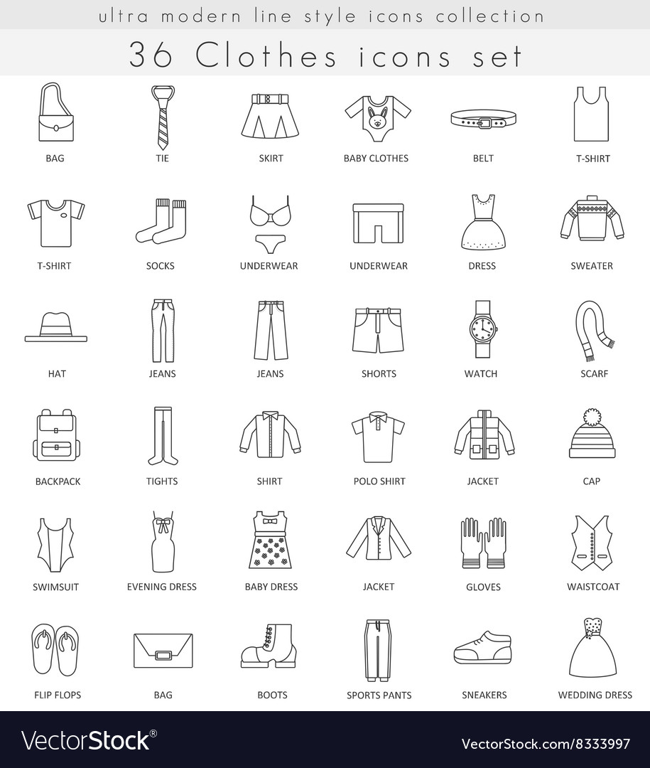 Clothes footwear ultra modern outline line vector