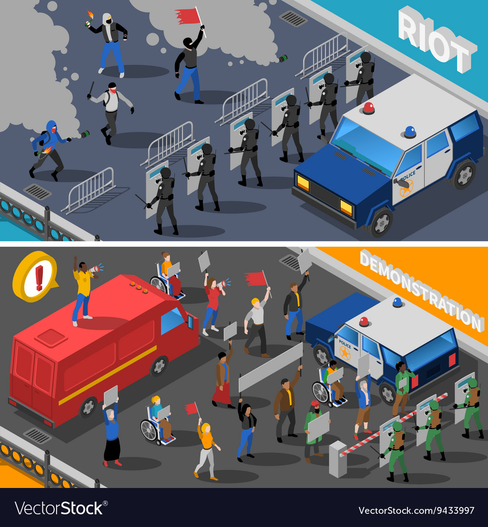 Demonstration protest riot 2 isometric banners vector