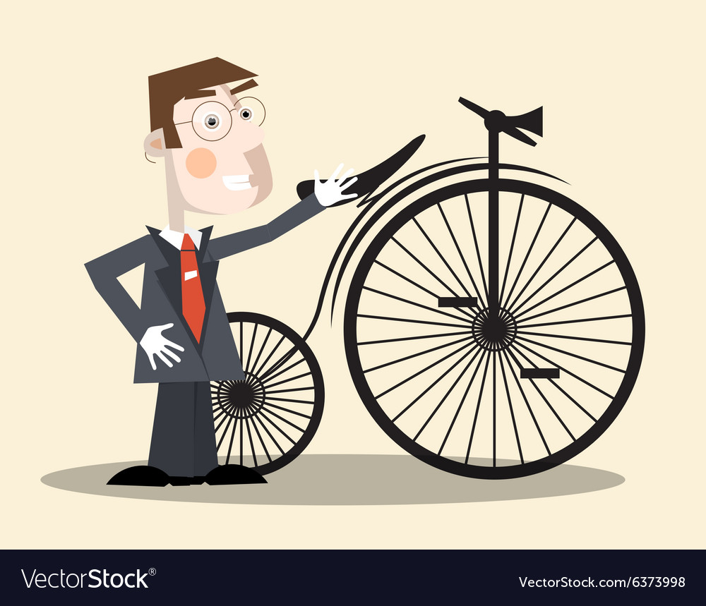 Business man and vintage bike vector