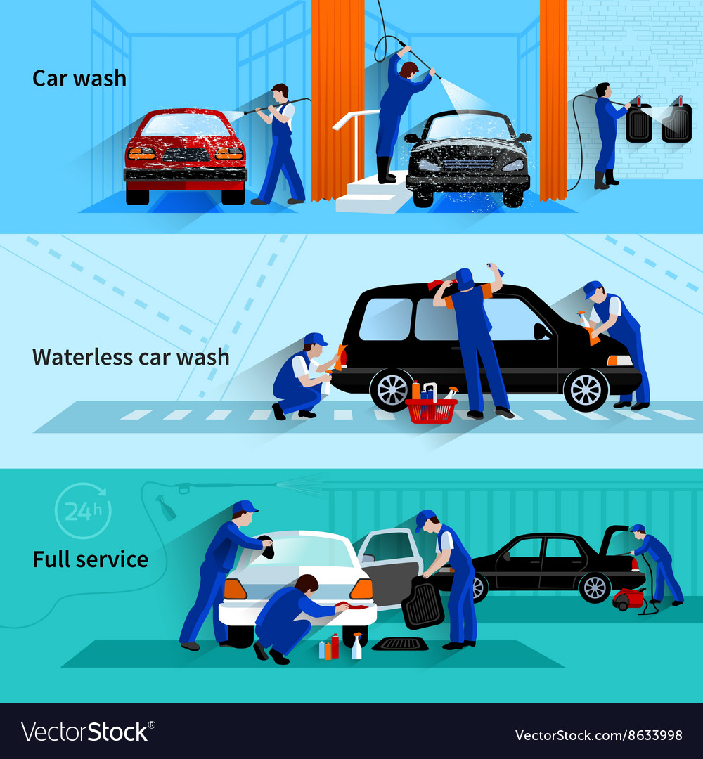 Car wash service 3 flat banners vector